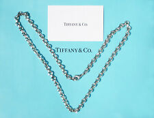 Tiffany & Co Mens Sterling Silver Donut Link Charm Chain Necklace 16 Inch