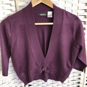 LA REDOUTE Purple/ Plum Fine Knit Cropped Cardigan Shrug Bolero Size 14/16
