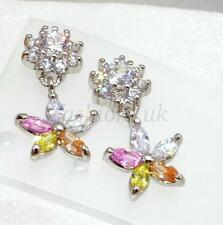 Girl New Pink CZ Cubic Zirconia White Gold Plated Xmas Flower Xmas Drop Earrings