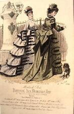 GRAVURE JOURNAL DES DEMOISELLES MODE ROBE ANCIENNE 19EME N° 3936