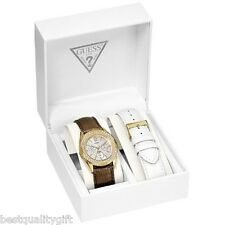GUESS BRONZE,WHITE LEATHER INTERCHANGABLE BAND SET+GOLD WATCH+CRYSTAL U11636L1