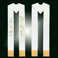 Catholic Church Clergy Stole Priest Embroidered Stole White  WithTassels