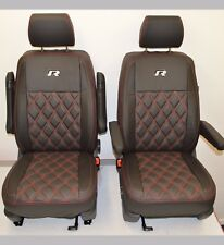 VW Transporter T5 R Line Tailored Seat Covers Black & Carbon CAPTAIN SEATS ONLY