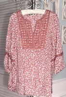 NEW Plus Size 1X Pink Dusty Rose Peasant Blouse Lace Crochet Shirt Top