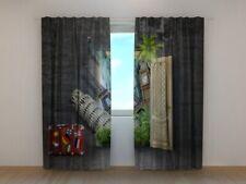 Fotogardine die Welt hinter der Tür Foto-Vorhang Gardine mit Fotodruck auf Maß