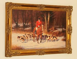 RONALD MOSELEY Superb Oil Painting of a Fox Hunting Scene with Huntsman & Hounds