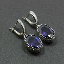 925 Sterling Silver & Purple Amethyst Drop Dangle Earrings Edwardian Style