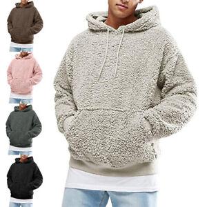 Mens Long Sleeve Drawstring Teddy Bear Hoodies Tops Fluffy Fleece Sweatshirts UK