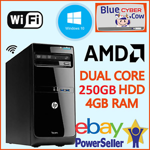 Cheap Fast Windows 10 TOWER HP AMD DUAL CORE PC Computer 4GB RAM 250GB HDD WiFi