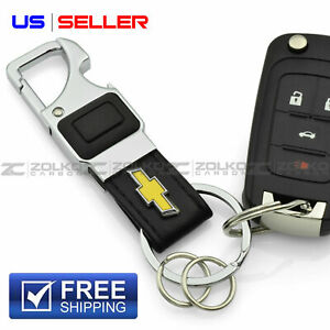 LED FLASHLIGHT KEYCHAIN KEY FOB CHAIN RING BLACK LEATHER FOR CHEVY CHEVROLET