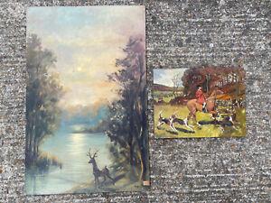 tableau lot de 2 Oeuvres ARt Animalier Cerf chasse à cour Ecole Allemande