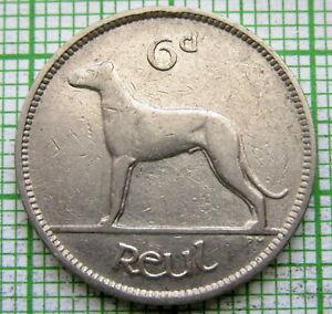 IRELAND 1935 6 PINGIN PENCE SIXPENCE, IRISH WOLFHOUND DOG, NICKEL