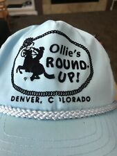 Vintage Ollie's Round Up HonkyTonk Cowboy Cowgirl Roping Blue Baseball Cap Hat