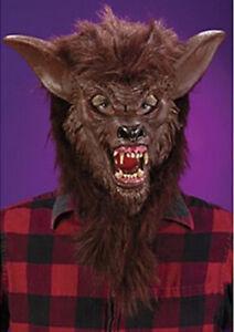 Ferocious Fangs Werewolf Adult Mens Mask Head Halloween Accessory Brown Wolf