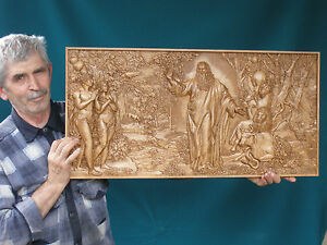 "Seven day Creation God Adam Eve 3D Art Orthodox Wood Carving (32""x16"")"