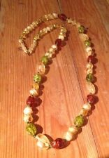 Lovely Vintage Green & Brown Glass Bead Necklace/1970/80's/Retro/Amber Lk/Hippy