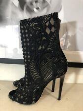 Balmain Lace Open Toe Ankle Boots