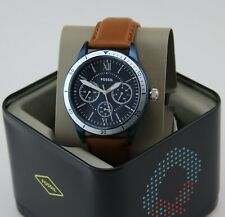 NEW AUTHENTIC FOSSIL FLYNN SPORT CHRONO BLUE BROWN LEATHER MEN'S BQ2316 WATCH