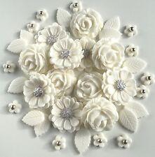 White & Silver Roses Wedding Bouquet Handmade SugarPaste Edible Cake Decorations