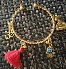 Red Protection Tassel Charm Bracelet Cuff Gold Bangle Buddha Om Hamsa Hand Eye