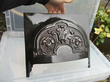 Antique Cast Iron Fire Hood Fireplace Black Vintage Old Gilt Leaf Art Nouveau