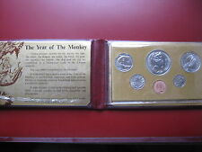 Singapore 1980 6 MONETE UNC Set 1 cent - 1 DOLLARO ANNO DELLA SCIMMIA IN ROSSO WALLET