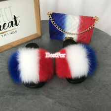 Max Large XXL Real Fox Fur Slides Womens Sliders Slippers Summer Sandals Shoes