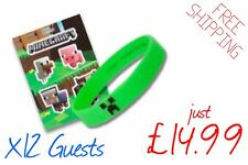 Minecraft Birthday Party Bag Fillers  x12 Guests - (12 Stickers & 12 Wristbands)