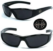 Choppers Biker Men Designer Sunglasses UV Black Frame Super Dark Lens C29