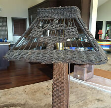 Antique Arts & Crafts Period/Style Wicker RattanTable Lamp Tall and Beautiful