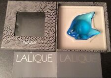 "Lalique Light Blue Crystal Fish 4.5cm high Signed ""Lalique France"" Boxed. (0376)"