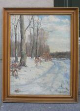 Ole Larsen (1889)  Fine Danish Winter landscape.  1920s salon oil.