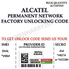 ALCATEL PERMANENT NETWORK UNLOCK CODE FOR ALCATEL OT-993