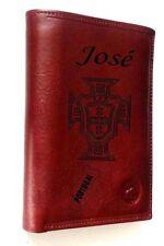 portefeuille cuir vachette gravé personnalisé gravure croix du  portugal drapeau