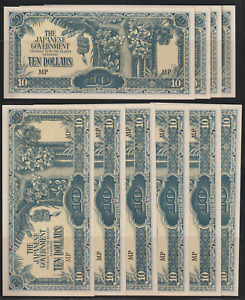 (A196)MALAYA JAPANESE OCCUPATION 1944 $10 BANKNOTE X10 UNC