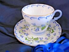 Shelley Harebell Demitasse Cup and Saucer Blue Scroll Gold Trim Henley  MINT