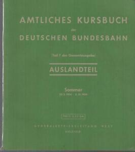 AMTLICHES KURSBUCH DER DEUTSCHEN BUNDESBAHN - AUSLANDTEIL - 1954