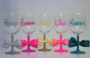 Personalised Disney Themed Name Glitter Wine Glass Birthday Celebration Gift
