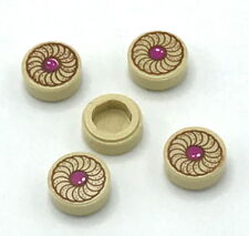 Lego 5 New Tan Tiles Round 1 x 1 with Cookie Magenta Center Pattern Pieces