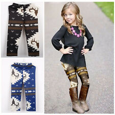 Lovely Baby Kids Girl Deer Printed Slim Narrow Leg Long Pants Leggings Trousers