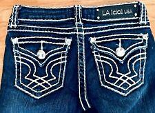 Womens LA IDOL Jeans Size 1  Size 27 Inseam 31 White Stitching Flap Pockets