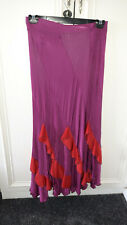 purple stretchy spanish style dance skirt with red frill approx size 14
