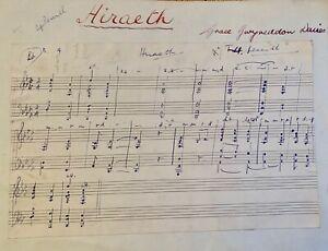 Grace Gwyneddon Davies  1879-1944 / Composer Original Manuscript ''Hiraeth''