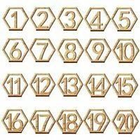 1-20 Wooden Wedding Table Numbers Hexagon Shape with Holder Base Catering Decor