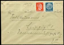 WWII II ERA GERMANY CHANCELLOR FRANKED 2  pfg STAMP COVER MUNICH TO LEIPZIG