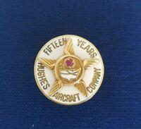 Vintage HUGHES AIRCRAFT 15 Years Anniversary 10K Gold Enamel Lapel/Hat Pin *