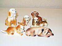 Vintage Lot of 6 Porcelain Dog Collectible Figurine Japan