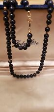 """24"""" Undyed Lapis Blue gemstone Beaded Necklace with 14k Gold Accent Beads 5mm"""