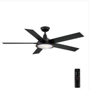 Home Decorators Collection AM686-MBK Merienda 56 in. LED Matte Black Ceiling Fan
