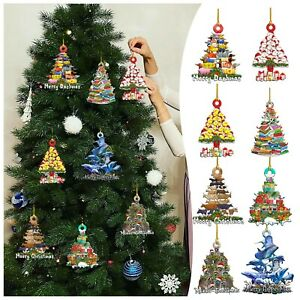 Christmas Wooden Funny Ornaments Xmas Tree Decorations Wooden Hanging Pendant